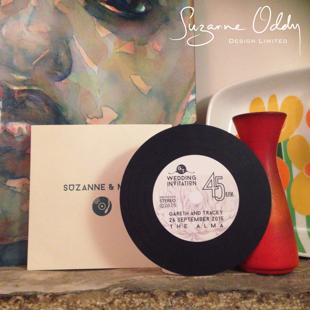 Suzanne Oddy Record Round wedding invitation