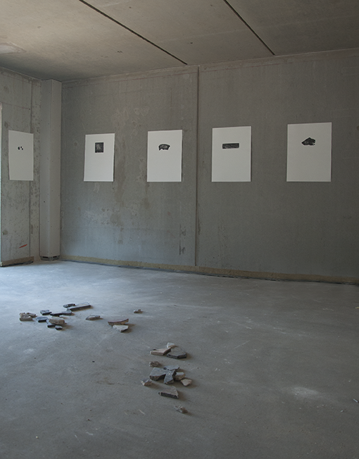 Installation view in a building under construction replacing a destroyed house from the Brussels Anti-Demolition Campaign project, 2013