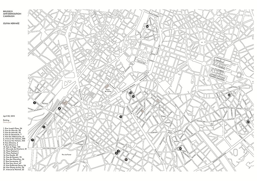 Map of the paintings to download on the website  brusselsantidemolitioncampaign.com
