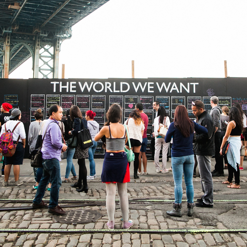 The world we want wall in NY