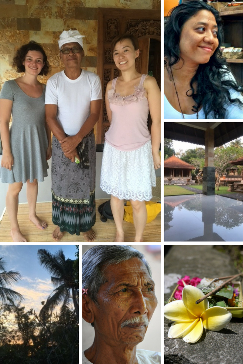 Starting from up left , photo of me and Anna during the Astrology workshop . The lady on the right is the healer Tunjung ( photo from her website http://www.tunjungbalihealer.com) . Then photo of the patio of the beautiful home of the astrologer. Bottom right is an example of a balinese offering , credit to this website and article http://alittleadrift.com/ritual-balinese-beliefs-offerings/ . Then an image of Cokorda Rai from here https://thevagabondfeminist.wordpress.com/2015/05/19/cokorda-rai/ . Finally bottom left a beautiful sunset in Ubud.