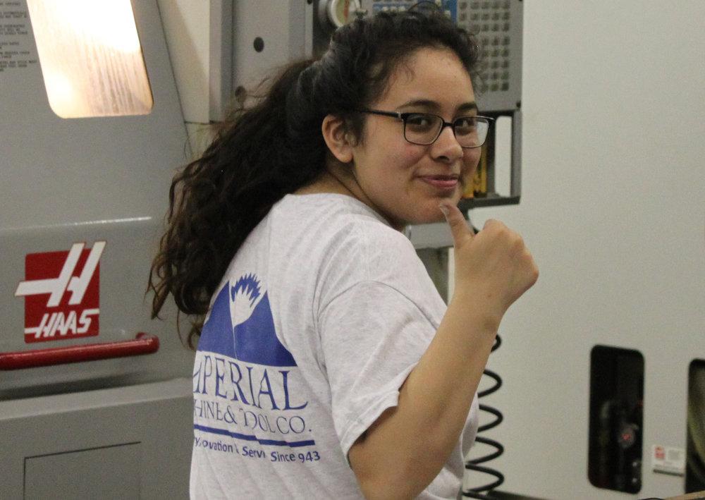 Karen working on her Haas CNC machining center