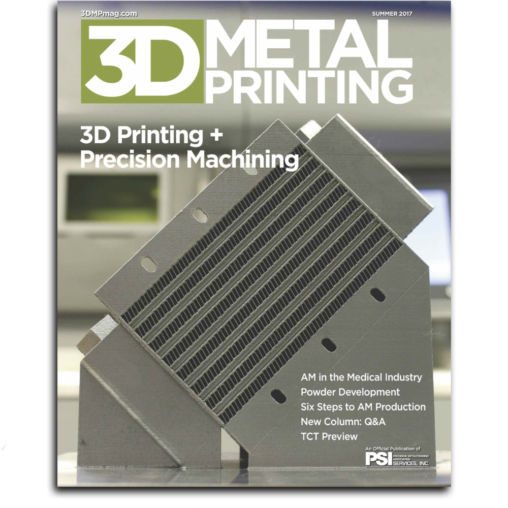 A heat exchanger fabricated at our Columbia, NJ facility was chosen for the cover of 3D Metal Printing Magazine. This heat exchanger was made in collaboration with Penn State's Center for Innovative Materials Processing (CIMP-3D).