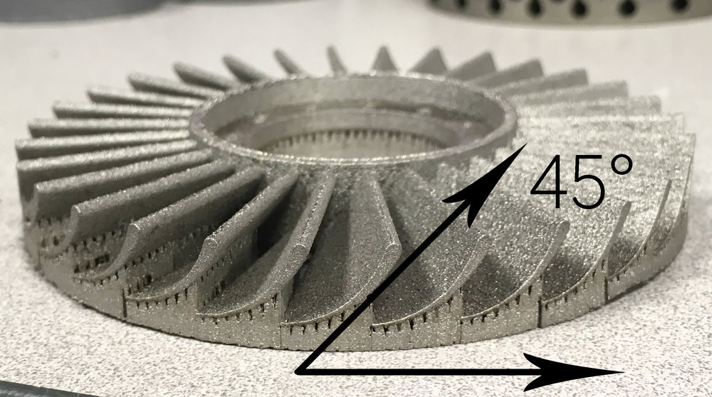 "This Impeller example employs printed support structure on overhangs less than 45°, then continues ""un-supported"" for the overhangs greater than 45°."