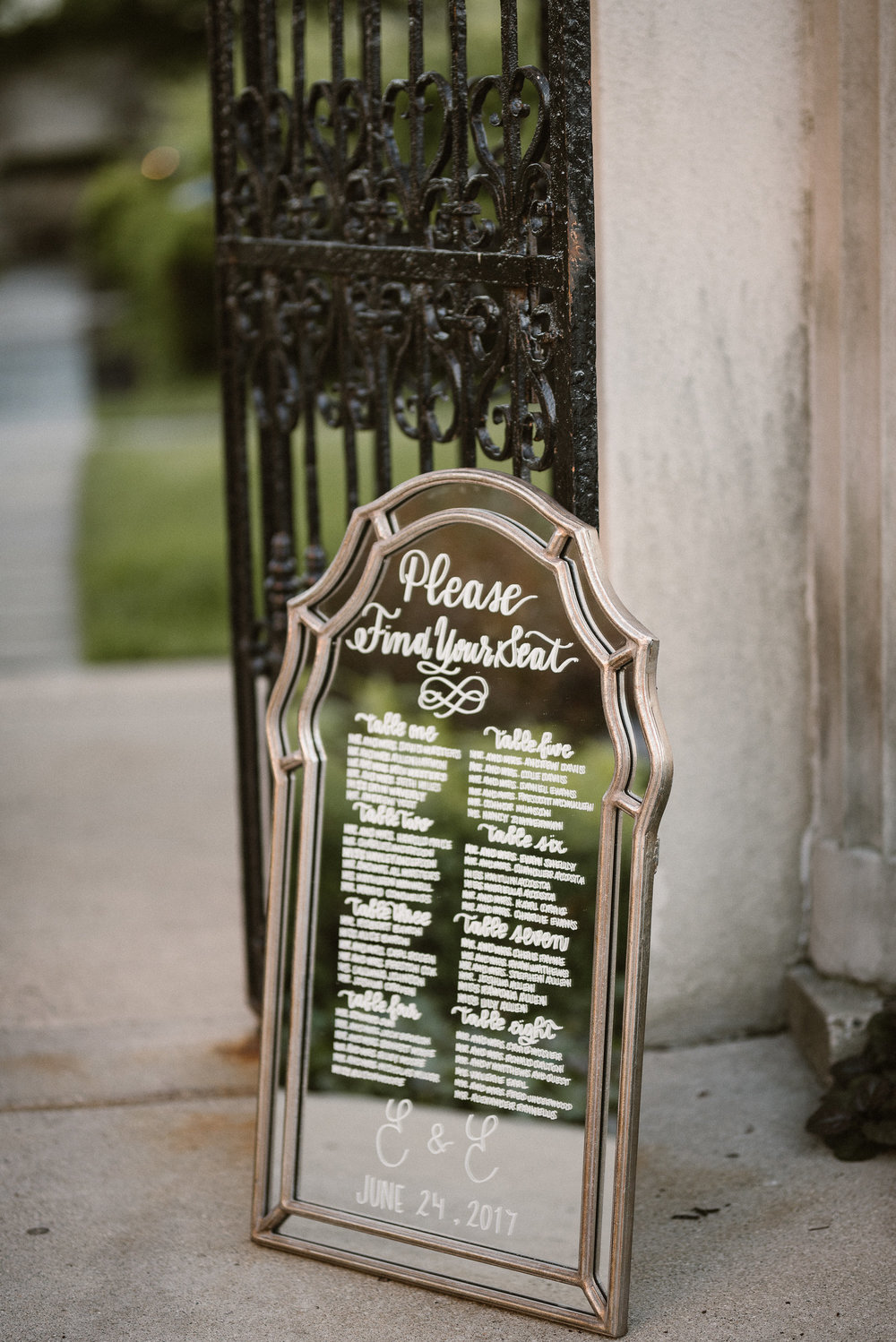 Mirror Seating Chart Sign, Photo by  A  lora Rachelle Photography , Event Design by Ines & Marie Events