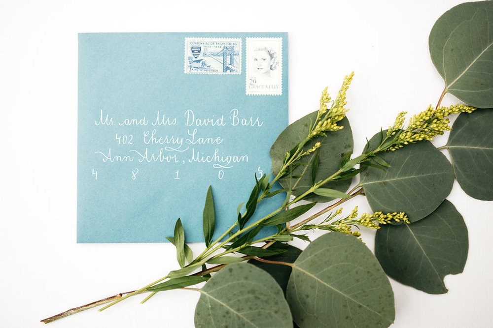 Blue Envelope Calligraphy, White Ink