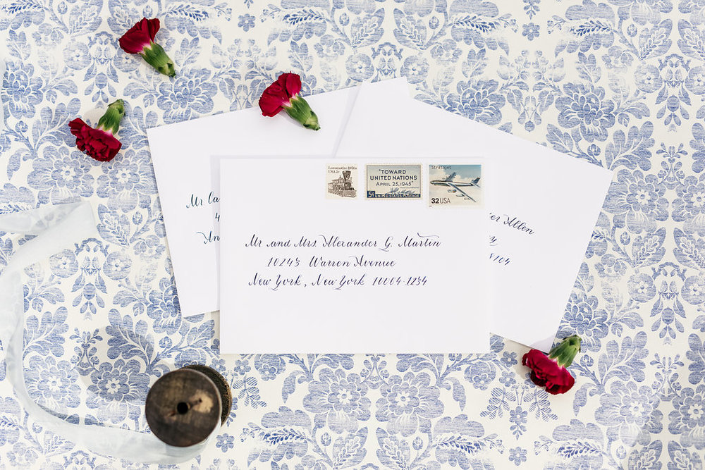 Traditional Invitation Calligraphy with Navy Ink