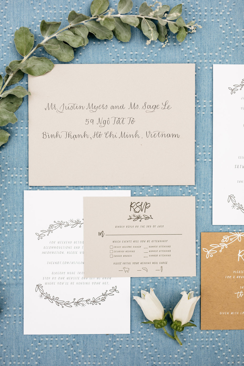Grey Wedding Invitation Calligraphy