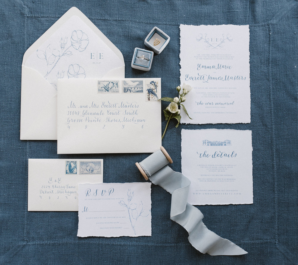 Michigan Wedding Invitation Suite with Calligraphy