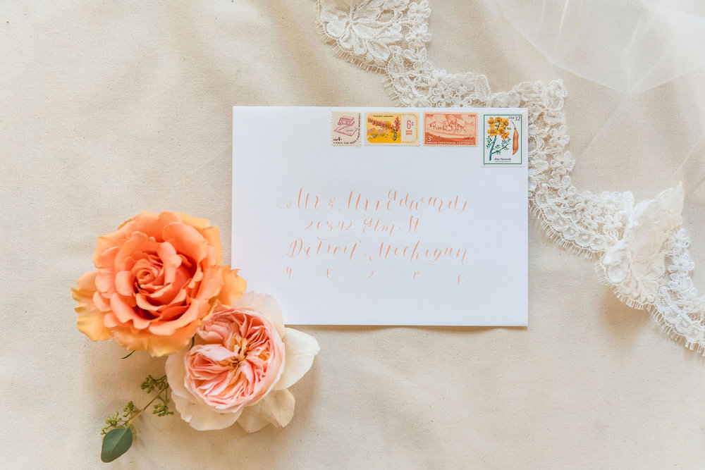 Peach Wedding Envelope Calligraphy