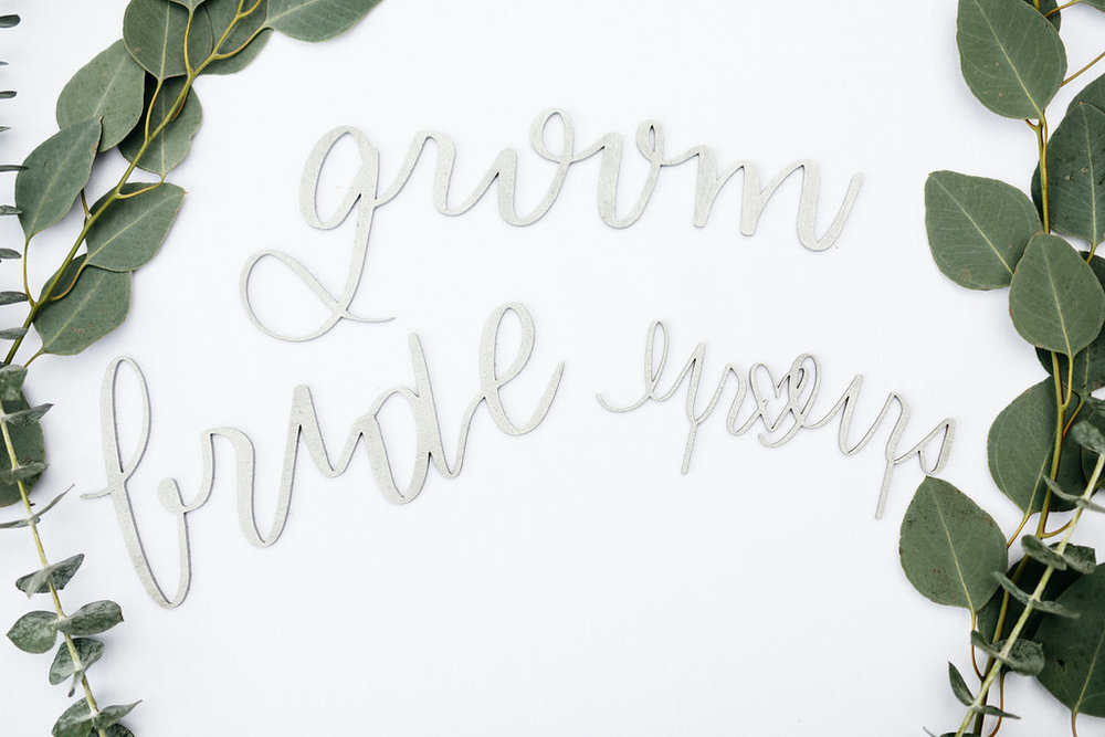 Laser Cut Calligraphy Bride & Groom Signs