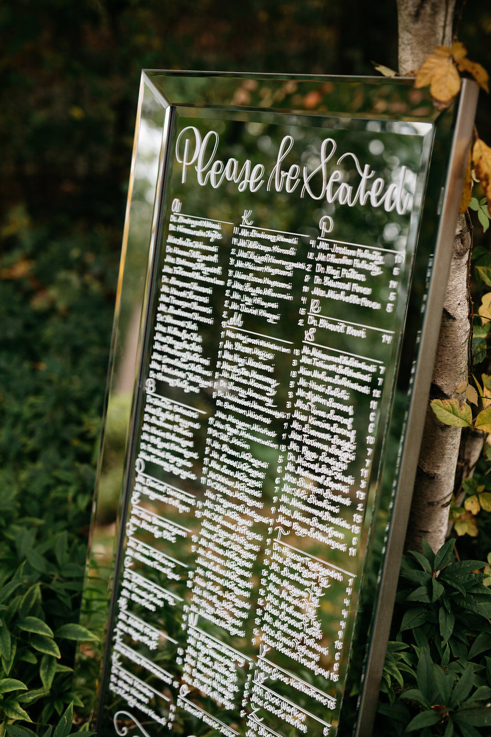 Wedding Mirror Seating Chart Sign