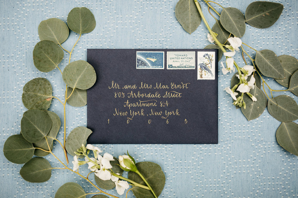 Gold and Navy Modern Wedding Invitation Calligraphy  Photo by Cat Carty Buswell