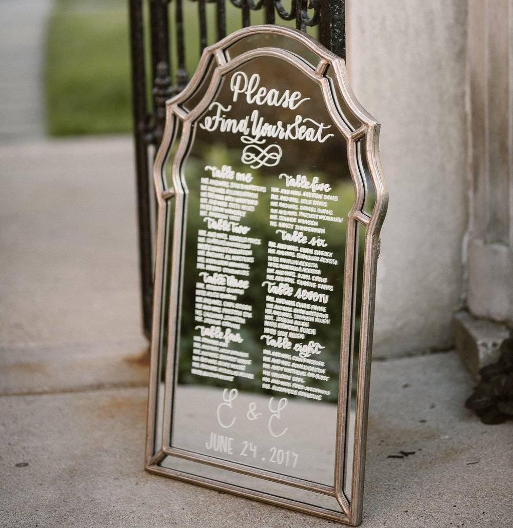 Ines & Marie Events // Mirror Sign // Grosse Pointe War Memorial