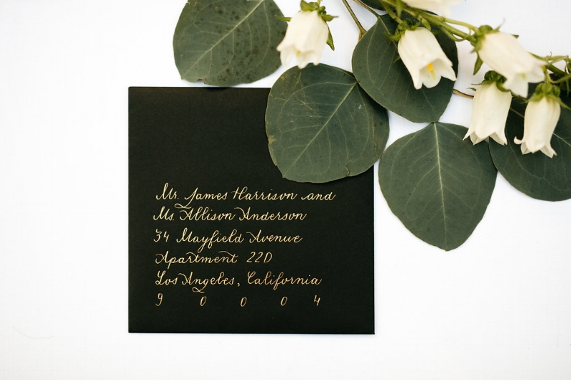 Gold Wedding Invitation Calligraphy, Photo by Cat Carty Buswell