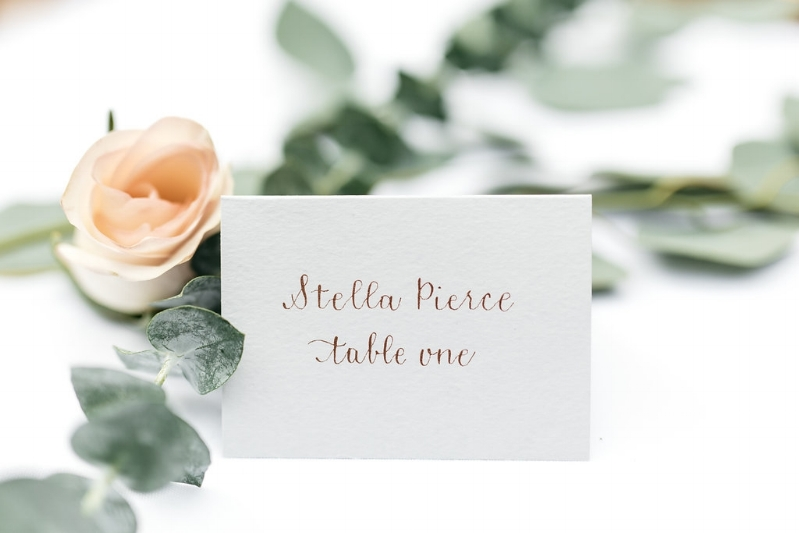 Rose Gold Place Card Calligraphy, Photo by Cat Carty Buswell