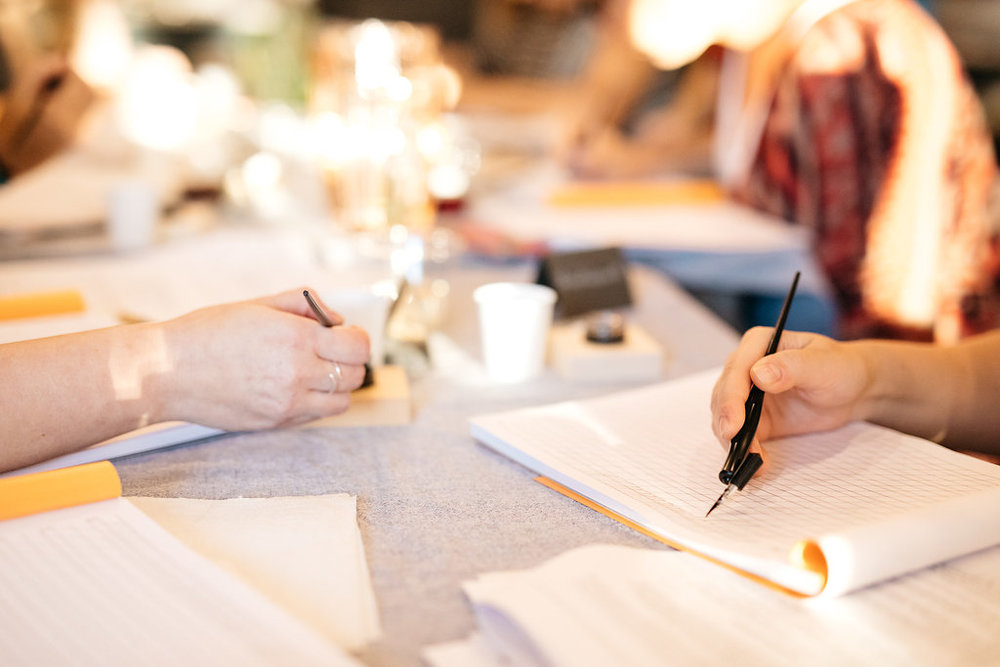 Calligraphy Class in Michigan, Photo by Cat Carty Buswell