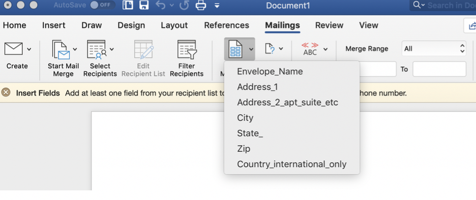 how to do a mail merge for centered addresses in calligraphy