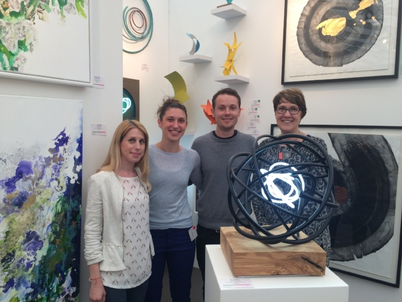 Corinne Natel, Amy Caiger, Mark Beattie and Carol Caiger at Affordable Art Fair, Battersea 2016