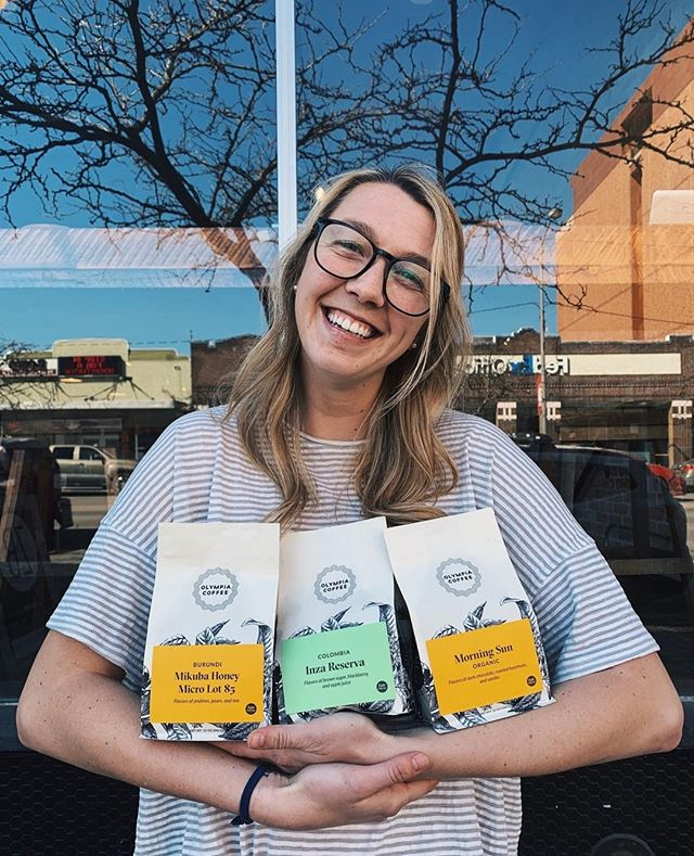 Happy Jenna. Happy Wednesday. Happy retail coffee from our peeps @olympiacoffee ! Have a great day friends. Stop by today and shop some of these beans today!