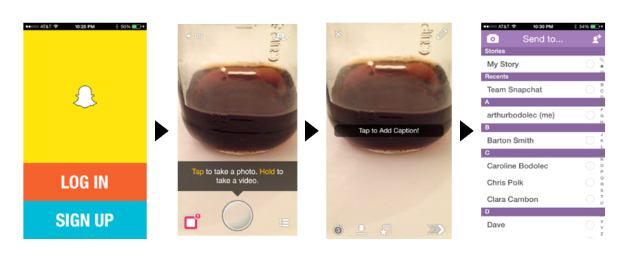 the screenshot shows tips displayed by Snapchat for onboarding purposes
