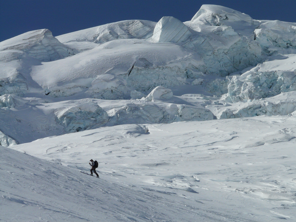 Pick a pace and stick to it - climbing a glacier.