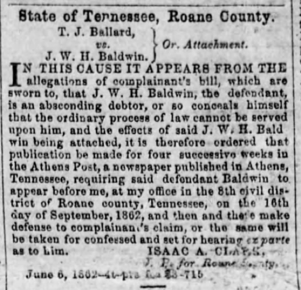 Sgt. Jesse W. H. Baldwin, Co. A, 5th TN Infantry, USA