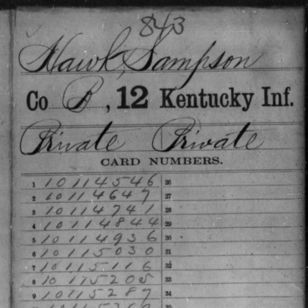Pvt. Sampson Hawk, Co. B, 12th KY Infantry, USA