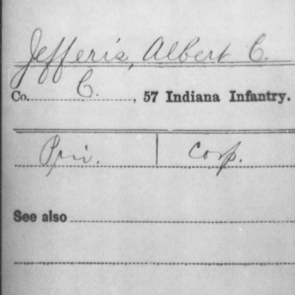 Cpl. Albert Jefferis, Co. C, 57th IN Infantry, USA