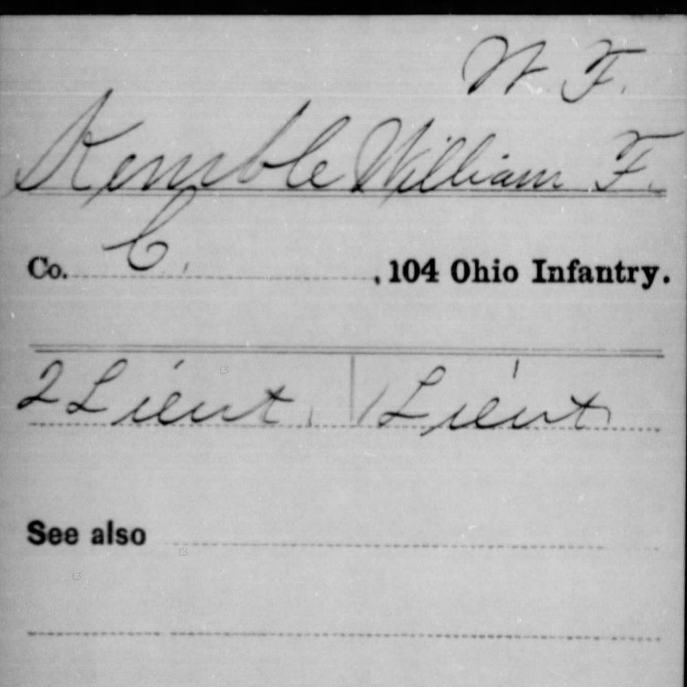 Capt. William Kemble, Co. C, 104th OH Infantry, USA