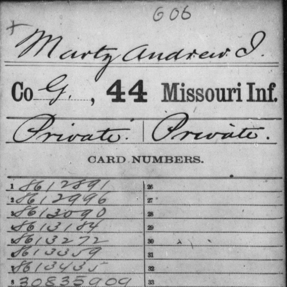 Pvt. Andrew Jackson Martz, Co. G, 44th MO Infantry, USA