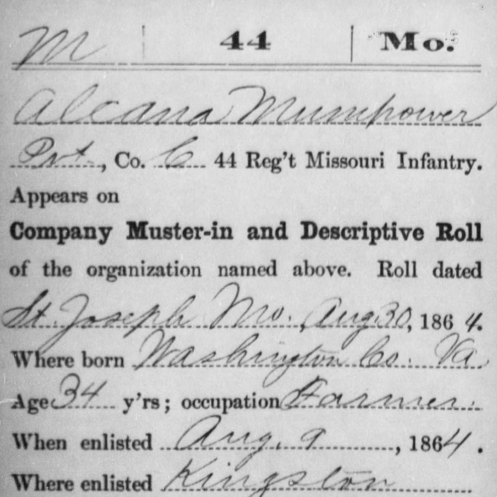 Cpl. Alcana Mumpower, Co. C, 44th MO Infantry, USA