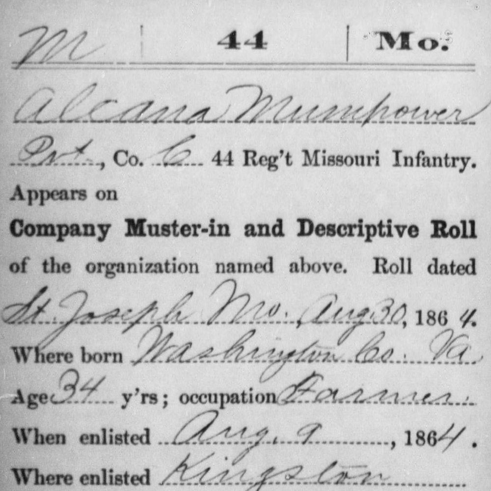 Cpl. Alcana Mumpower, Co. C, 44th MO Infantry, USA