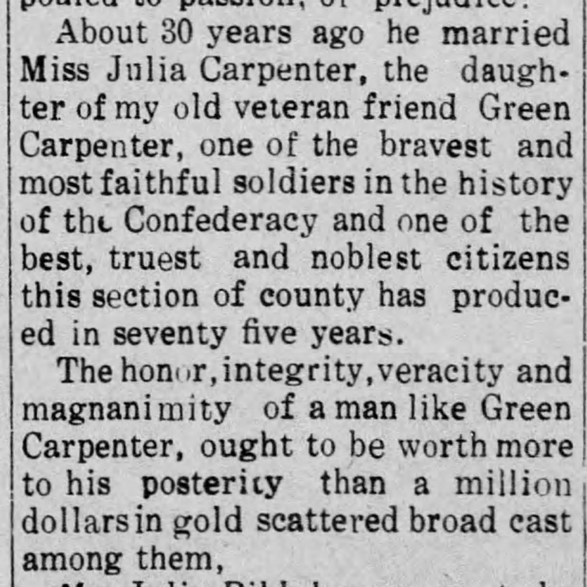 Pvt. Green Carpenter, Co. K, 30th MS Infantry, CSA