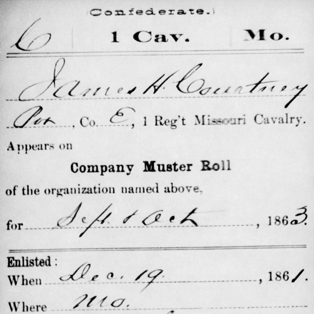 Pvt. James Courtney, Co. E, 1st MO Cavalry, CSA