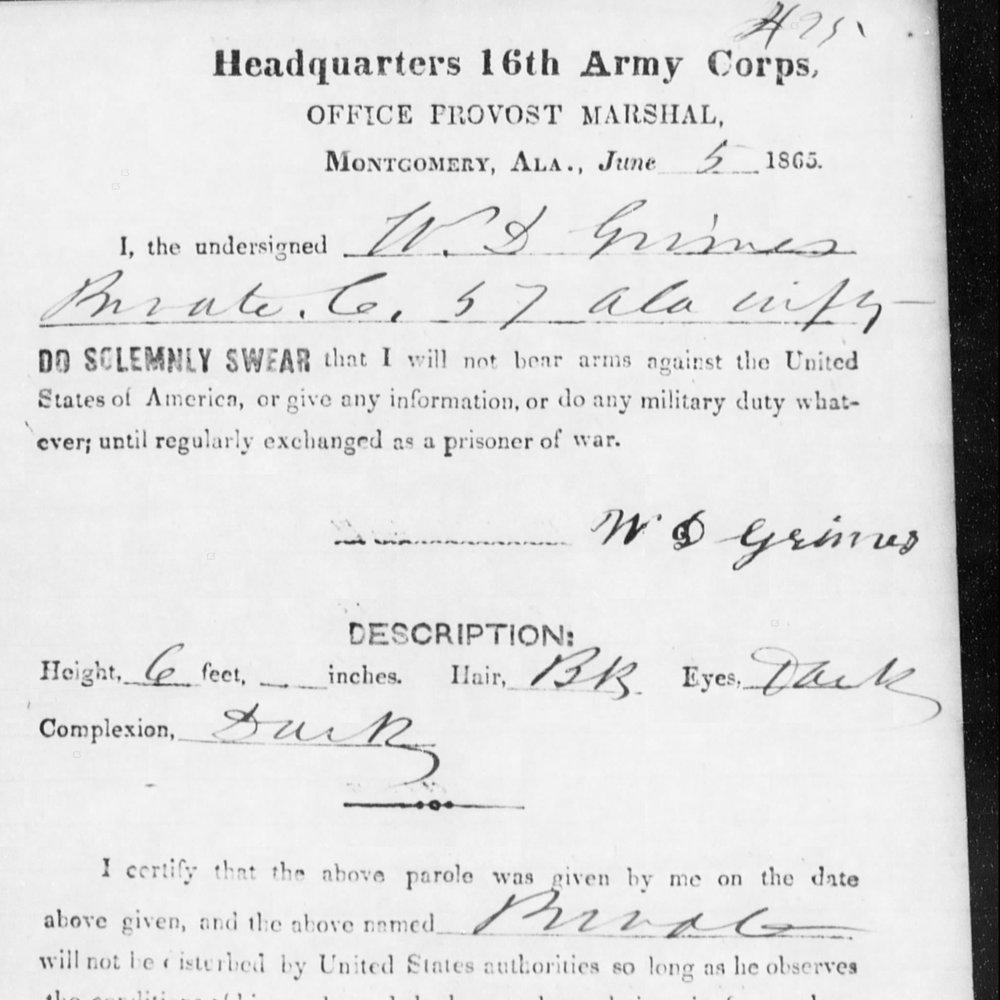 Pvt. William Grissett, Co. C, 57th AL Infantry, CSA