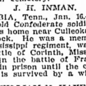 Pvt. John Inman, Co. A, 5th MS Infantry, CSA