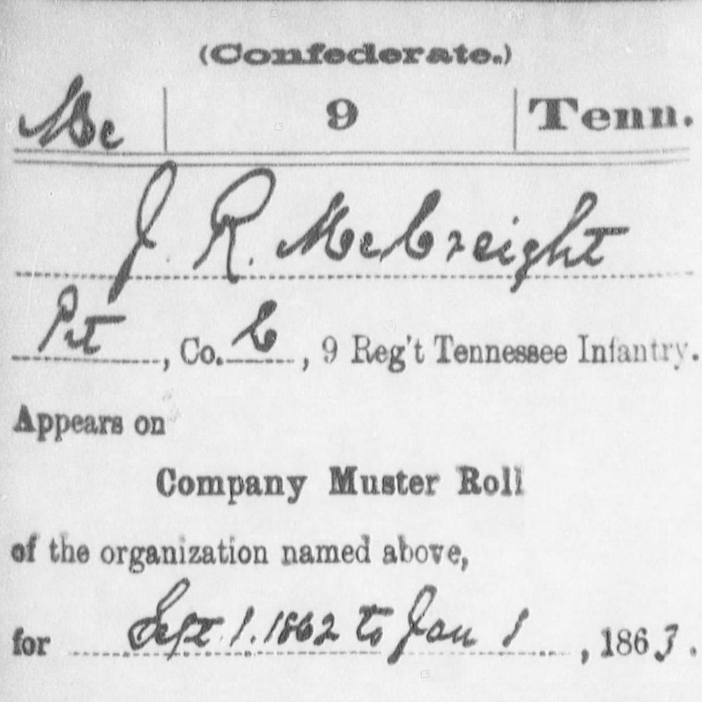 Sgt. John McCreight, Co. C, 9th TN Infantry, CSA