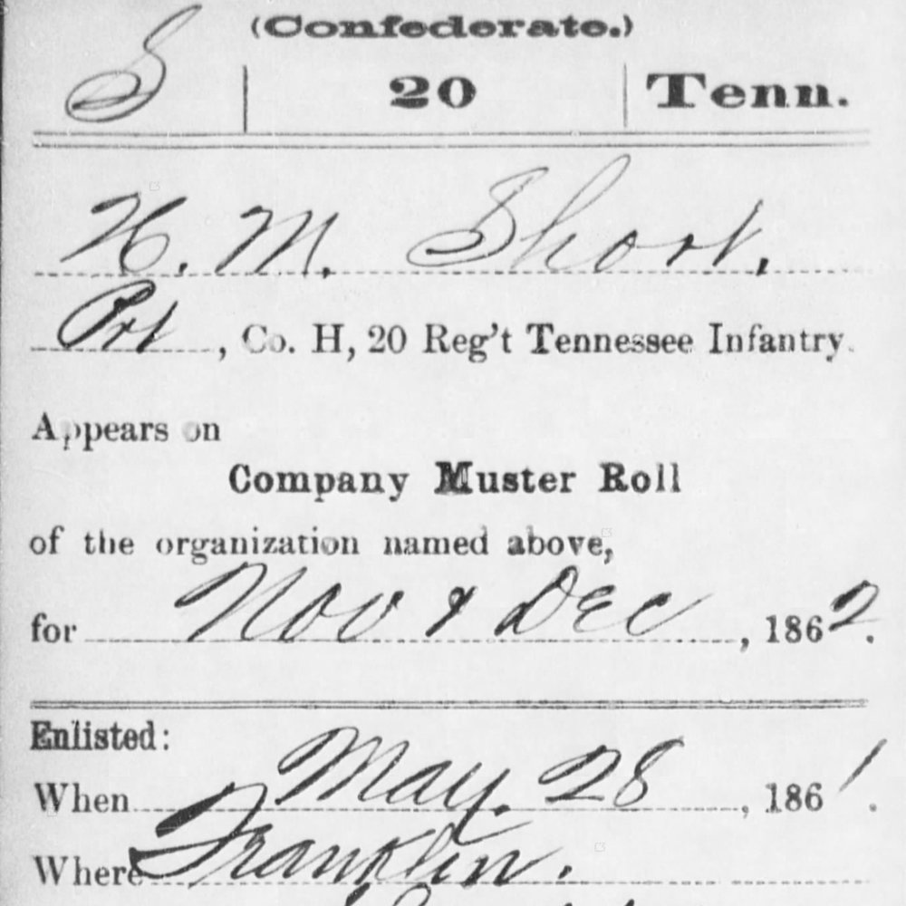 Pvt. Henry Short, Co. H, 20th TN Infantry, CSA