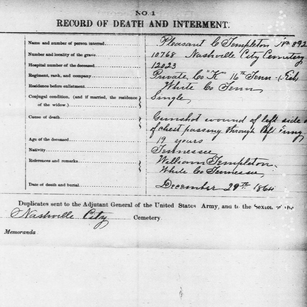 Cpl. Pleasant Templeton, Co. K, 16th TN Infantry, CSA