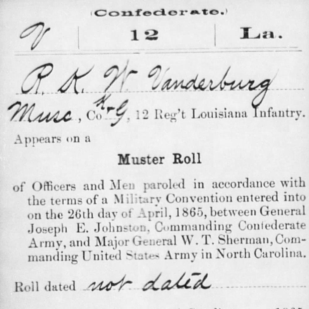 Rufus Vanderburg, Musician, Co. K, 12th LA Infantry, CSA