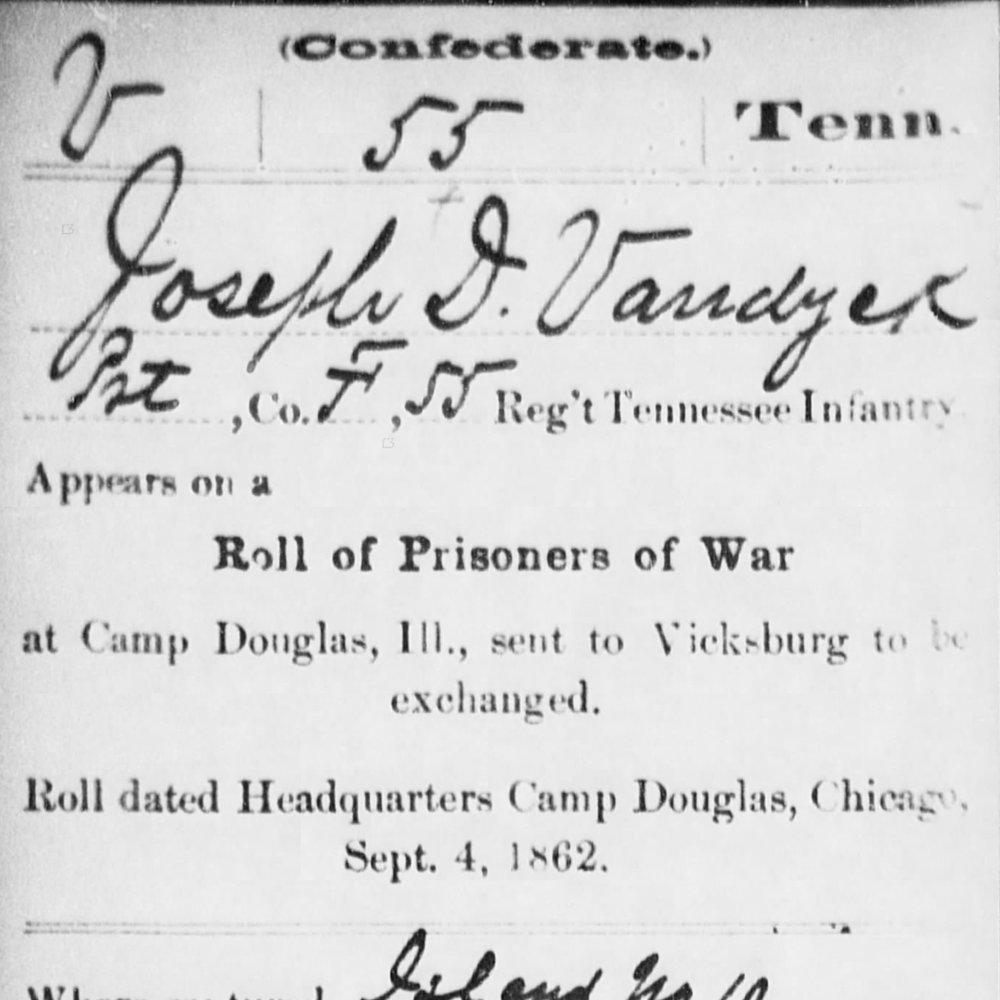 Pvt. Joseph Vandyke, Co. F, 55th TN Infantry, CSA