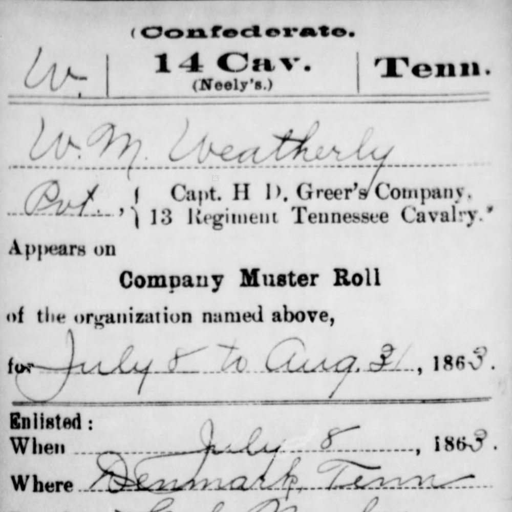 Pvt. William Weatherly, Co. F, 14th TN Cavalry, CSA