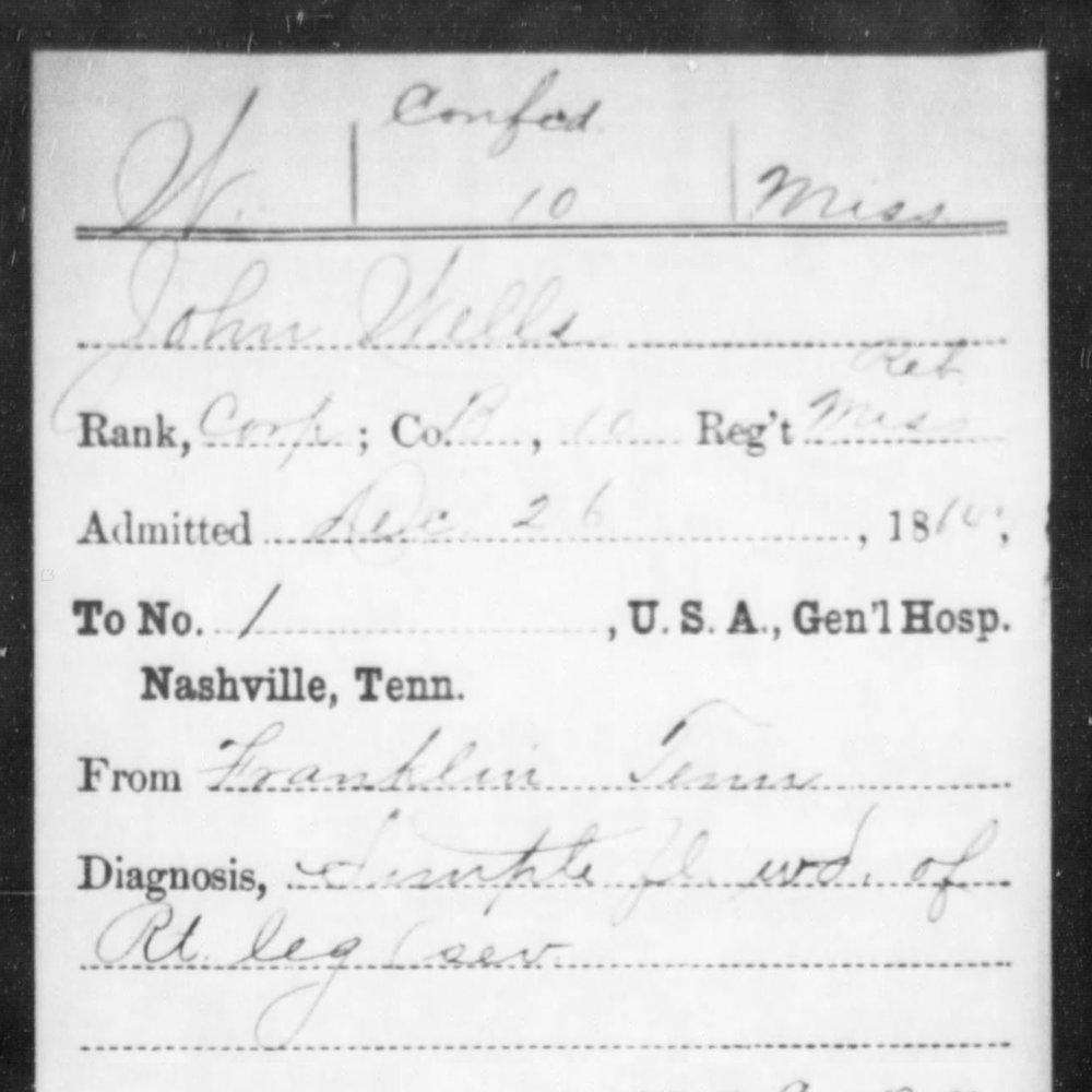 Cpl. John Wells, Co. B, 10th MS Infantry, CSA