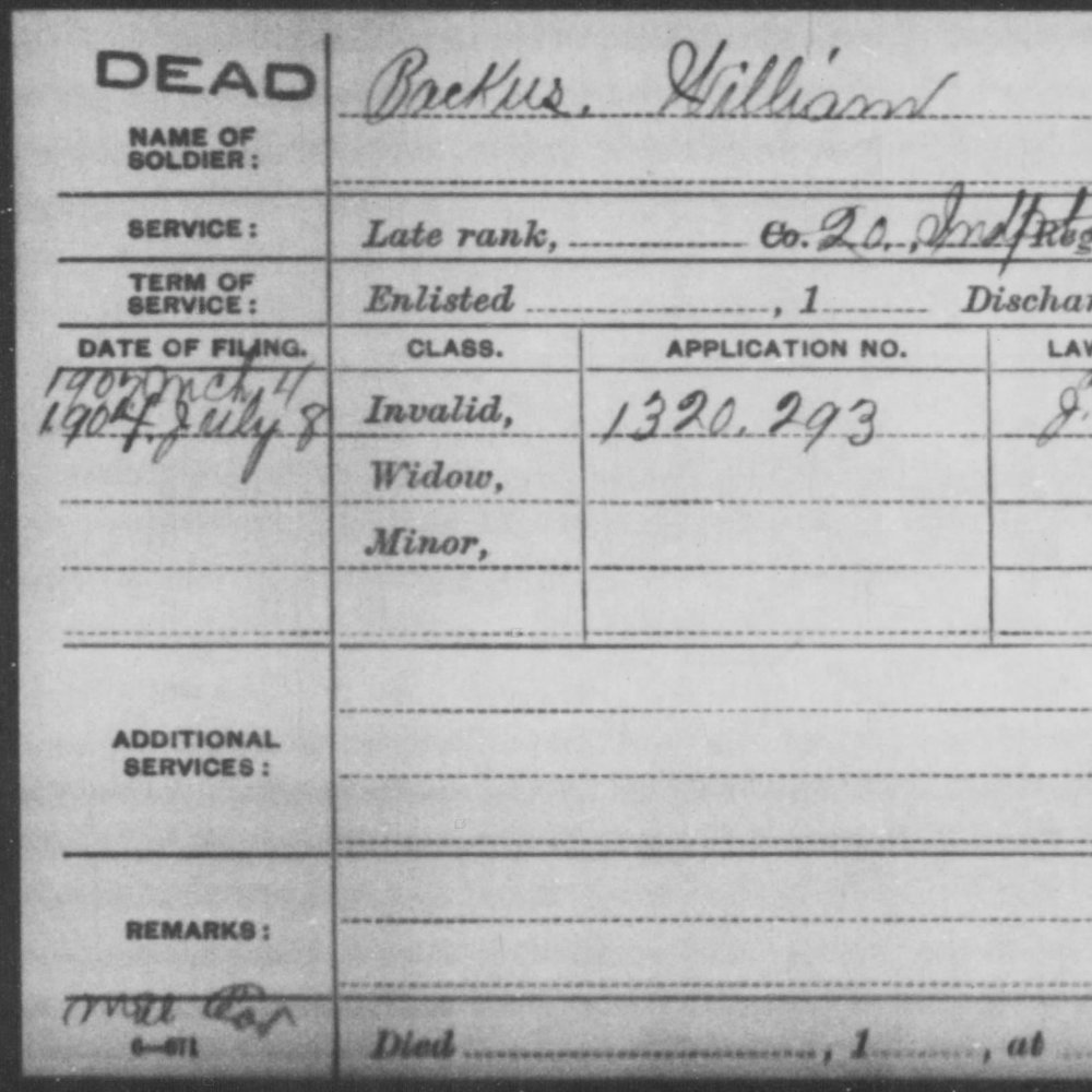Lt. William Backus, 20th OH Light Artillery, USA