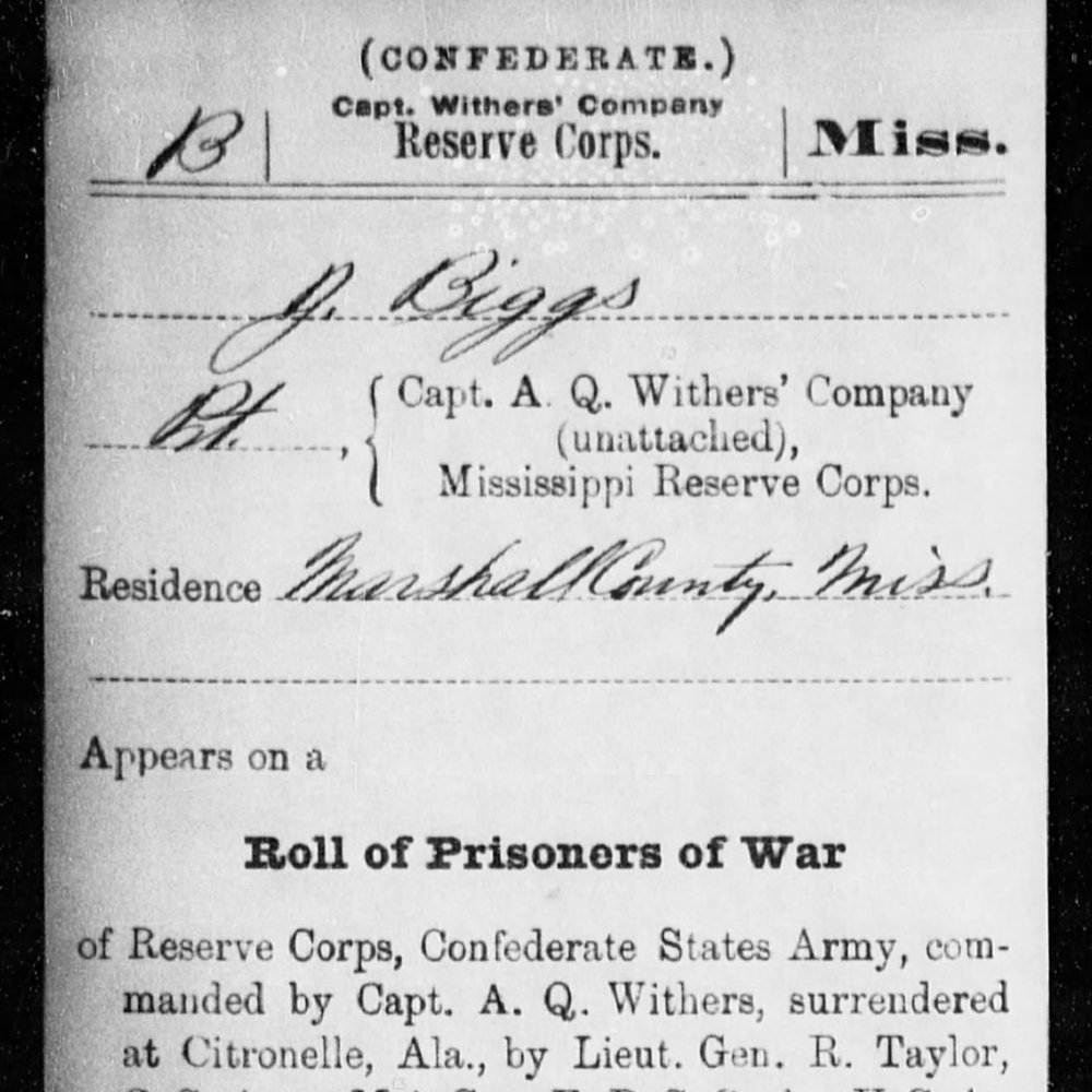Pvt. James Biggs, Withers Corps, MS Infantry, CSA