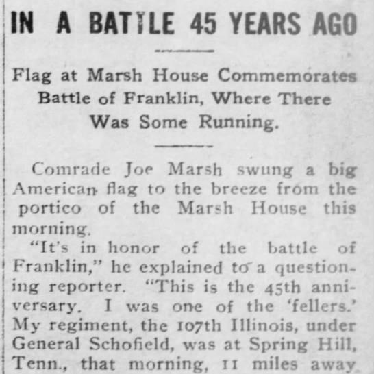 Lt. Joseph Marsh, Co. G, 107th IL Infantry, USA
