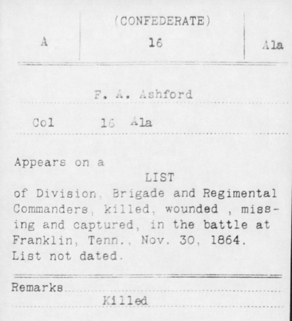 Col. Frederick Ashford, Co. B, 16th AL Infantry, CSA