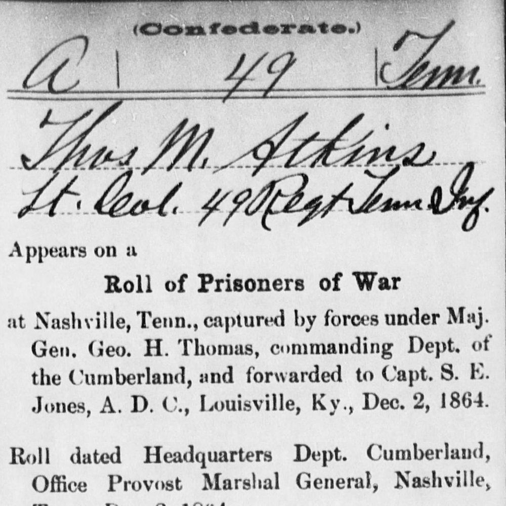 Lt. Col. Thomas Atkins, Co. A, 49th TN Infantry, CSA