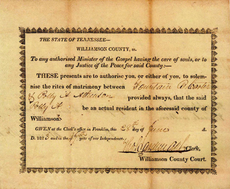 Marriage Certificate of Fountain Branch and Polly Carter
